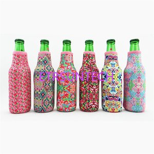 100pcs Wholesale Bottle Cooler Neoprene Case Rose And Crown Designs Bottle Holder ,Floral Pattern Bottle holder Gift Bag