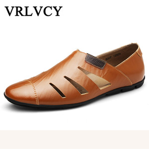 Wholesale Leather breathable men s casual shoes rubber soled non slip shoes spring and summer models