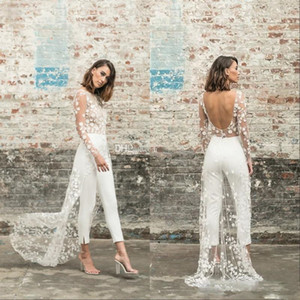 Wholesale 2020 New Designer Jumpsuit Beach Wedding Dresses Jewel Neck Long Sleeve Backless Ankle Length Bridal Outfit Lace Summer Wedding Gowns 84