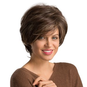 Wholesale Factory price pc Women Fashion Lady Brown Short Length Hair Heat Resistant Synthetic Fiber Wig Wigs Stand Stocked Feb22