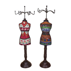 Wholesale High quality cm solid wood model Necklace rack female mannequin Earrings display jewelry Stand rack shop decorations desktop pc C616