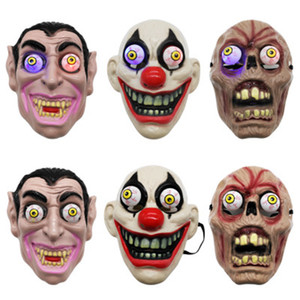 Wholesale Led Halloween Horror Mask For Clown Vampire Eye Mask Cosplay Costume Theme Makeup Performance Masquerade Full Face Party Mask ZZA1144