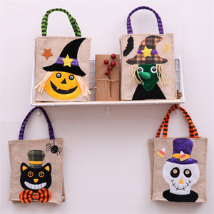 Wholesale 4 styles Halloween Christmas gift bags halloween decorations Linen Pumpkin Tote Shopping Mall Hotel Cookies Apple Gift Bag DHL UJY444