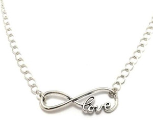 Wholesale infinite love resale online - Infinite LOVE Necklace Pendant Vintage Silver Charm Choker Collar Fashion Statement Necklaces Women Jewelry Girl Fine Gift Accessories