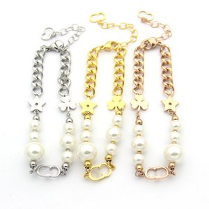 Wholesale Titanium Steel D letter clover five pointed star pearl bracelet lady trade rose gold plated thick charm bracelets for women