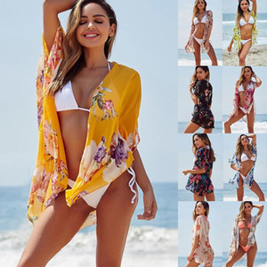 Wholesale Women Bikini Cover-Ups 9 Colors Floral Printed Chiffon Beach Smock Wraps Sunblock Sunscreen Shawls Beachwear Swimwear Cape OOA6892