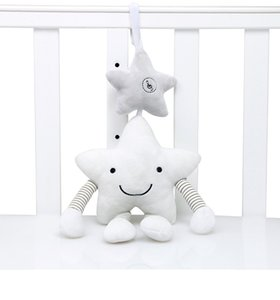 Plush Musical Mobile Wind Chimes White Star Accompany Toy Hanging on the Bed Gift for Babies on Sale