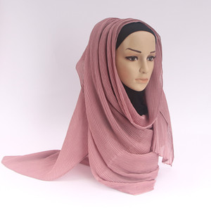 Wholesale veil fold Crumpled Wrap Hijabs Muslim Scarves Cotton and linen tippet hood Fashion classic high quality monochromatic spring