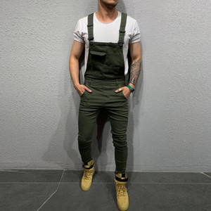 Wholesale Mens Jeans Overall Jumpsuit Pocket Streetwear Overall Suspender Pants Casual Overalls Dungarees Playsuit Pants Jeans Feminino
