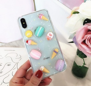 Wholesale Cartoon Macaron Soft TPU Gel Phone Case Cover For iPhone X s plus free DHL