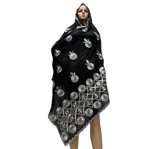 Wholesale African Women Scarfs Muslim Women Embroidery Cotton Big Size Scarf Hijab Scarfs for shalws Pashmina