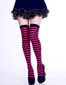 Wholesale Women Over Knee Long Sock Striped Thigh High Socks Cute Cosplay Costume Stockings for Party Favors