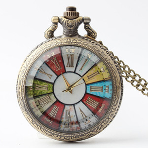 Wholesale Glass Case Pocket Watch Necklace Men Women Steampunk Chain Pocket Watches Vintage Roman Numerals Quartz Fob Watch
