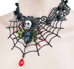 Wholesale Victorian Gothic Black Web Crochet Lace Choker Necklace Collar Halloween Costume Skull blood red drop ladies lace Horror Spider Pendant XL07