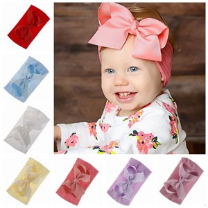 Wholesale Baby Bow Hairband Soft Nylon Hair Bands Elastic Flower Headband Kids Birthday Party Gifts Hair Accessories Colors Optional YW2058