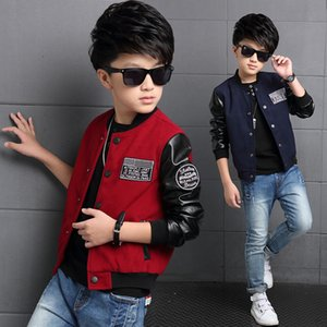 Wholesale The New Boy In The Spring Autumn Winter Child s Coat Jacket Sweater Boy Casual Leather Coat Ages Navy Blue and Red Color