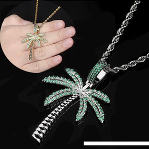 Wholesale New Brand Fashion K Gold Mens Womens Bling Green Cubic Zirconia Coconut Tree Pendant Necklace Hip Hop Designer Luxury Jewelry Bijoux Gifts
