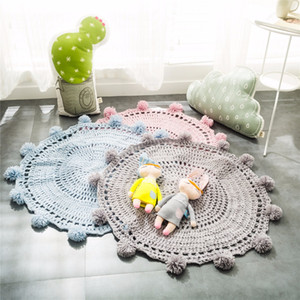 Wholesale 80CM Kids Yarn Ball Blankets Handmade Baby Knitting Blanket Infant Play Carpet Crawling Mat Children Blanket Room Decoration