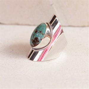 Bohemia Style Inlaid Big Oval Green Blue Gem Ornament Ring for Women Natural Stone Ring Fashion Knuckle Rings Jewelry Z3X729