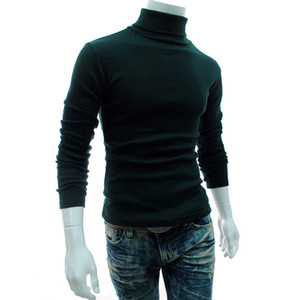 Casual Men Long Sleeve Knitwear Autumn Winter Turtle Neck Slim Fit Basic Pullover Tops TH36 on Sale