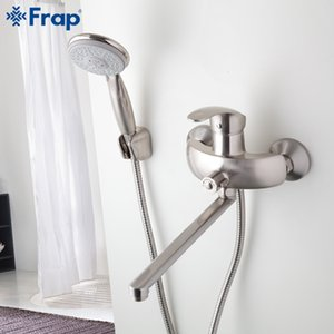 Wholesale Nickel Brushed Bathroom shower faucet Brass body mixed hot and cold water taps ABS shower head Outlet pipe F2221 F2221