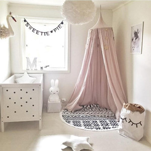 Wholesale Wholesale- Kid Bed Canopy Bed Curtain Round Dome Hanging Mosquito Net Tent Curtain Moustiquaire Zanzariera Baby Playing Home KlamboeBeige