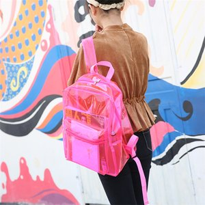 Wholesale New Transparent PVC Backpack Girl Beach Waterproof Plastic Jelly Bag Student Waterproof Storage Bag Types T3I5275