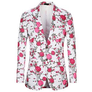 Rose Pattern Floral Printed Blazer Men 2019 Slim Fit Party Blazers Costume Homme Luxe Singer Prom Veste on Sale