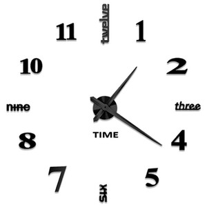 Wholesale Diy Wall Clock D Mirror Stickers Large Wall Clock Frameless Modern Design Large Watch Silent Home Office School Number Clock