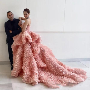 Wholesale red carpet dresse resale online - 2019 Blush Pink Strapless Ruffles Tulle Evening Dresses Peplum Sweep Train Detail Celebrity Prom Occasion Dresse