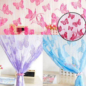 Wholesale Butterfly Jacquard Line Curtain Partition Curtain Multi color Background Lace