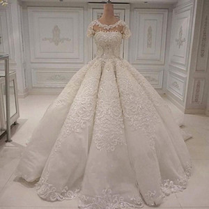 Wholesale Designer Wedding Dresses Elegant Long Gorgeous Dubai Arabia Ball Gown Lace Appliques Crystal Beads Short Sleeves Bridal Gowns Wedding Dress