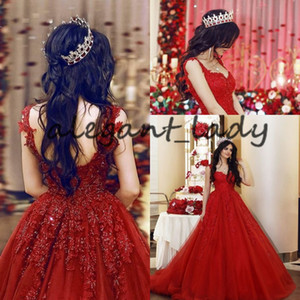 Wholesale Sparkly Luxury Baroque Wedding Dresses Sweetheart Red Crystal Lace Beaded Princess Castle Colorful Bridal Wedding Gown