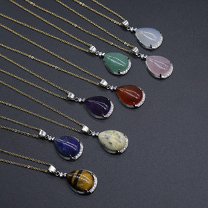 Wholesale Hot Natural Amethyst Drop Shaped Pendant Necklace Powder Crystal Red Agate Tiger Eye Lapis Lazuli Designer Necklace Female Jewelry Best Gift