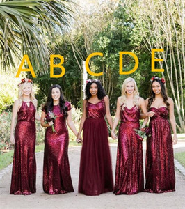Wholesale maid honor dresses bling resale online - Bling Burgundy Sequined Bridesmaid Dresses Maid Of Honor Gowns Mixed Styles Beach Floor Length Plus Size Wedding Party Guest Dresses Gowns