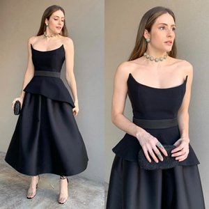 2020 Black Tea length Cocktail Dress A Line Satin Tiered Plus Size Sexy Women Prom Dresses Long Boat Neck Formal Party Gowns on Sale