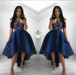 Wholesale 2019 New Navy Blue Cocktail Dresses A Line Crew Neck Lace High Low Prom Dress Short Party Arabic Evening Gowns Vestidos