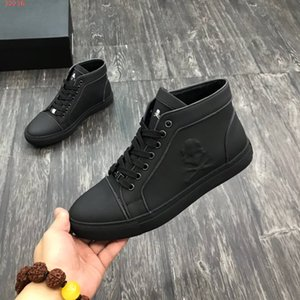 Wholesale 2019 New Italy Style Fashion skull Men high top sneakers Black matt leather lace up men shoes brand Casual Flats sneakers with box