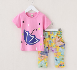 Wholesale Girl Clothing Sets Girls Cotton T shirt Floral Pants Pics Suits Summer Baby Kids Short Sleeve Clothes suit