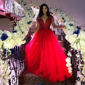 2019 New Red A Line Long Tulle Evening Dresses Jewel Neck Cap Sleeve Lace Appliques Girls Graduation Dress Floor Length Prom Gowns on Sale