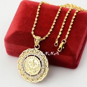 Wholesale Fashion Crystal Turkey Coin Pendant k Jewelry Yellow Gold Filled Arab Pendant Necklaces Chains