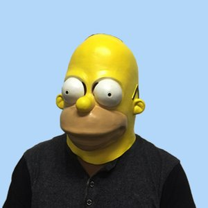Wholesale The Homer Simpsons Latex Simpsons cosplay Mask Halloween Cosplay for men fancy party full face funny mask adult carnival prop