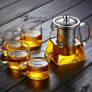 Wholesale 350ml High temperature Resistance Glass Tea Set Heat resistant Glass Stainless Steel Filtering Teapot Square Flower Teapot with fast ship