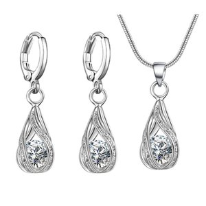 Silver Plated Luxury Design Women Jewelry Set Amazing Zircon necklace earrings set Bridal Accessories Wedding Jewelry on Sale