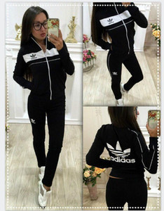 Wholesale XXL adidas Women Sport Suits Printed Fall Tracksuits Long sleeve Casual Sportwear Costumes Piece clothing set Hoodies Sweatshirt