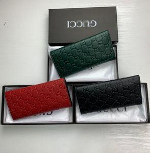 G Wholesale 3 colors fashion single zipper gûccì men women leather wallet lady ladies long purse with orange box card