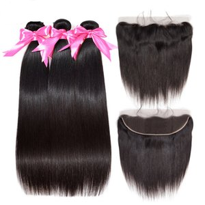 Wholesale EPL Bundles Straight Hair Bundles With Frontal Remy Malaysian Human Hair Bundles With Closure Pre Plucked Lace Frontal
