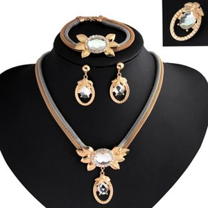 модные женские блузки оптовых-designer jewelry flowers jewelry sets crystal earrings necklaces bracelets brooches for women colorful simple hot fashion