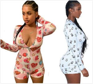 2 color new women short rompers sexy Jumpsuits deep V-collar panda printed long-sleeved button pants tight Rompers S-XXL