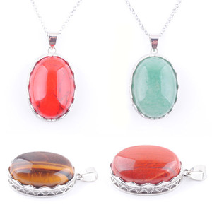 Wholesale oval bead chain for sale - Group buy WOJIAER Personality Natural Gem Stone Oval Pendant Necklace Silver Color Oval Bead Clavicle Chain Necklaces for Women DBN329